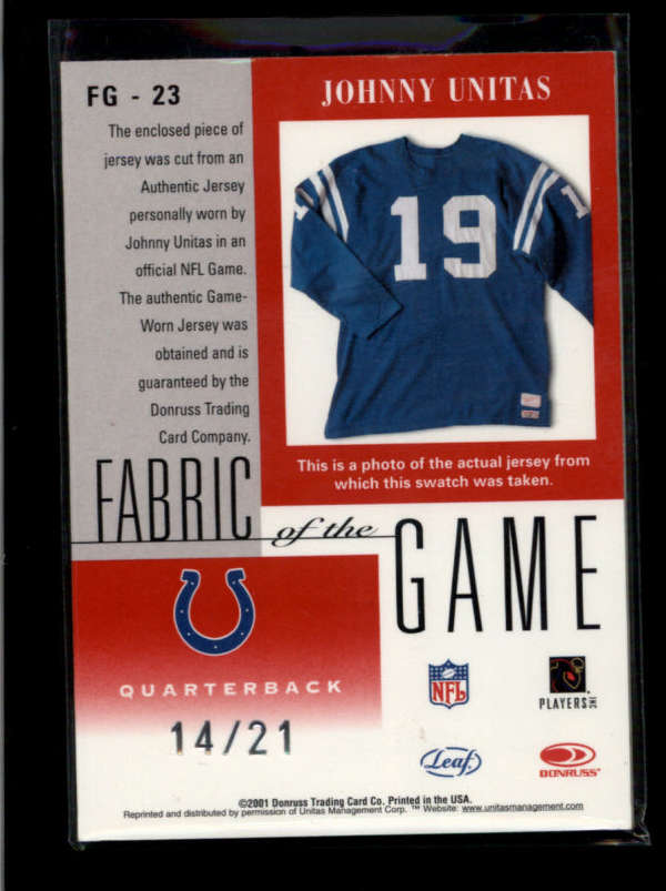 JOHNNY UNITAS 2001 CERTIFIED FABRIC OF THE GAME PATCH AUTOGRAPH AUTO #/21 RR1725